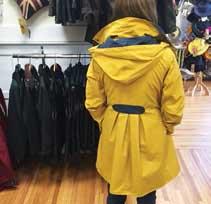 women in yellow coat
