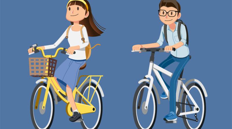 2 kids on bikes