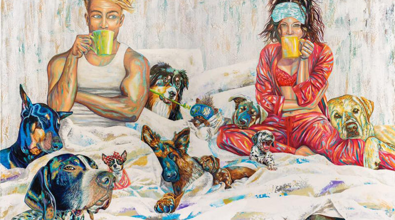 painting of man and women sitting in bed with coffee and lots of dogs