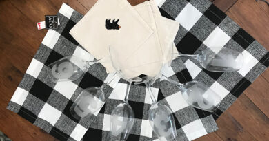 black checkered placemats