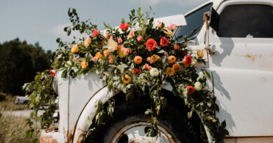 floral arrangement on truck