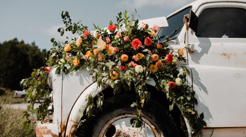 floral arrangement on truck