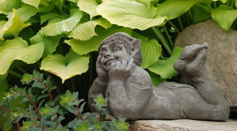 elf statue in garden