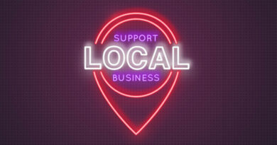 Neon location icon with the words support local business. Concept of helping local businesses in difficult economic conditions. Vector illustration in neon style.