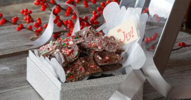 peppermint bark in gift box