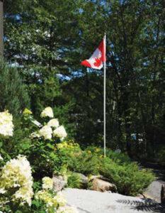 canadian flag in garden